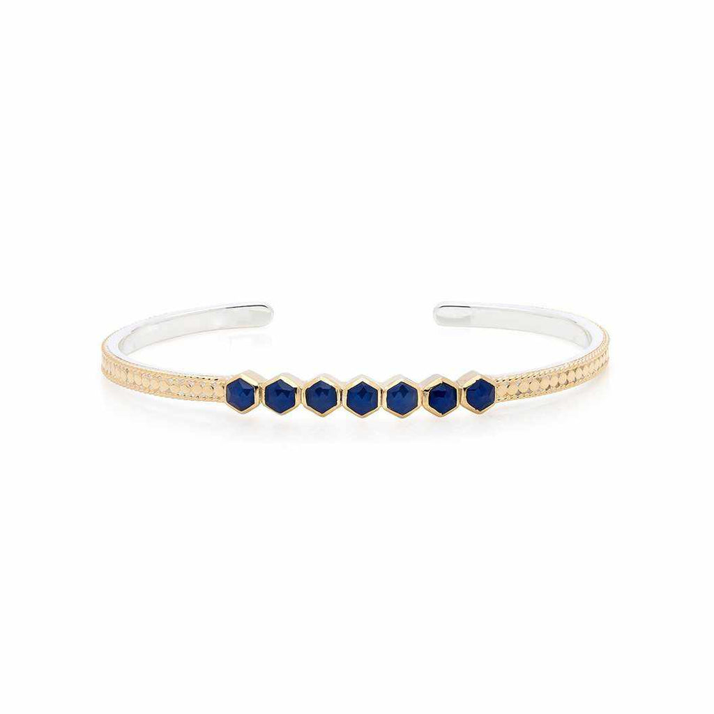 Anna Beck Blue Geo Sapphire Multi-Stone Stacking Cuff - Gold-Blue Hand Home