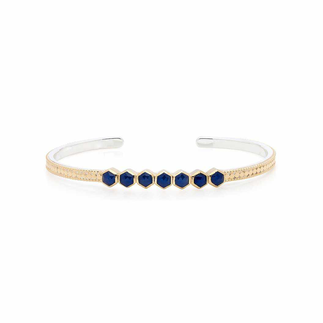 Anna Beck Blue Geo Sapphire Multi-Stone Stacking Cuff - Gold