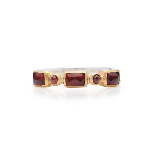 Anna Beck Garnet Mosaic Stacking Ring - Gold