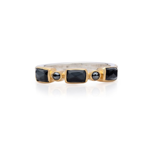 Anna Beck Hematite Mosaic Stacking Ring - Gold