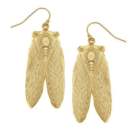 Susan Shaw Handcast Gold Cicada Earrings-Susan Shaw Jewelry-Blue Hand Home