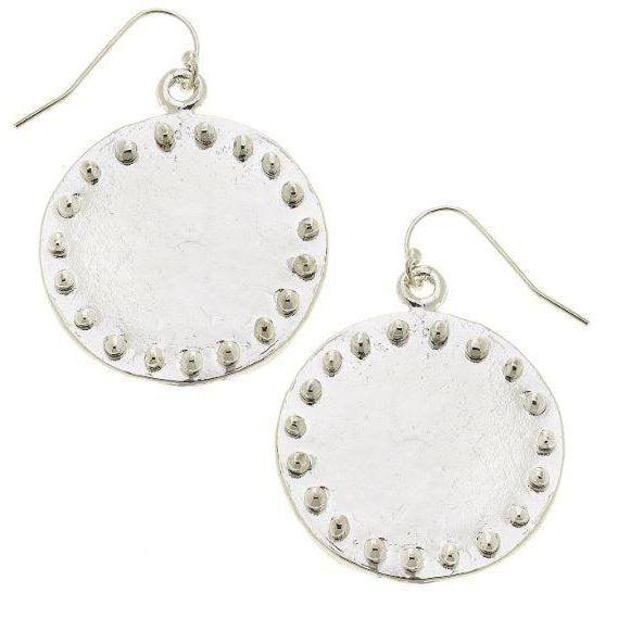 Susan Shaw Large Handcast Silver Circle with Dots Earrings-Susan Shaw Jewelry-Blue Hand Home