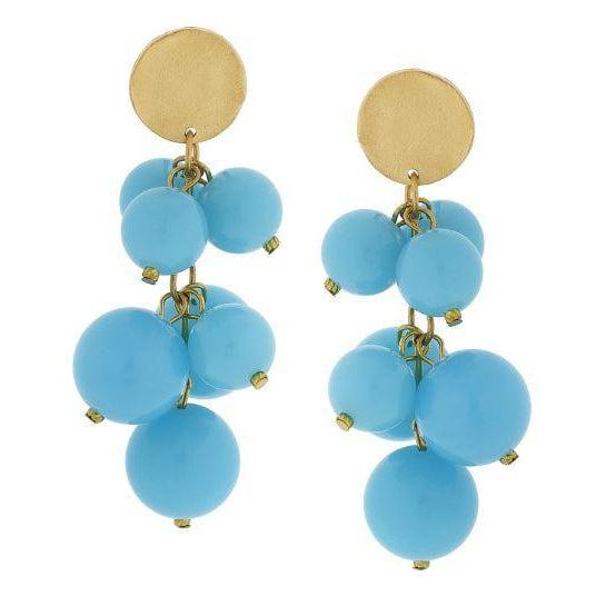 Susan Shaw Aqua Lucite Ball Cluster Earrings