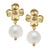 Susan Shaw Gold Flower & Cotton Pearl Earrings
