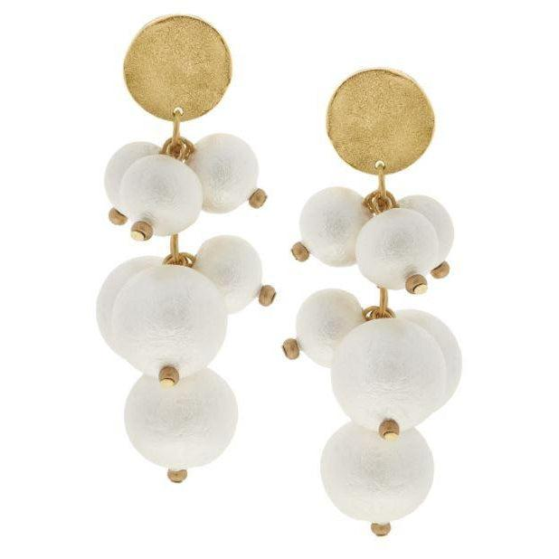 Susan Shaw Genuine Cotton Pearl Cluster Earrings