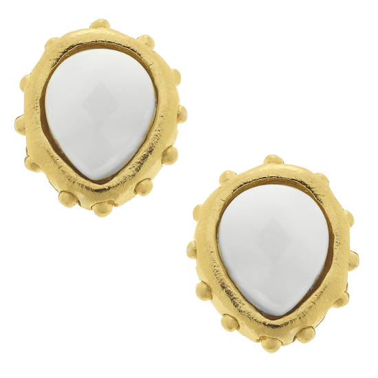 Susan Shaw Handcast Gold White Stud Earrings