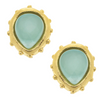 Susan Shaw Handcast Gold Aqua Stud Earrings-Susan Shaw Jewelry-Blue Hand Home