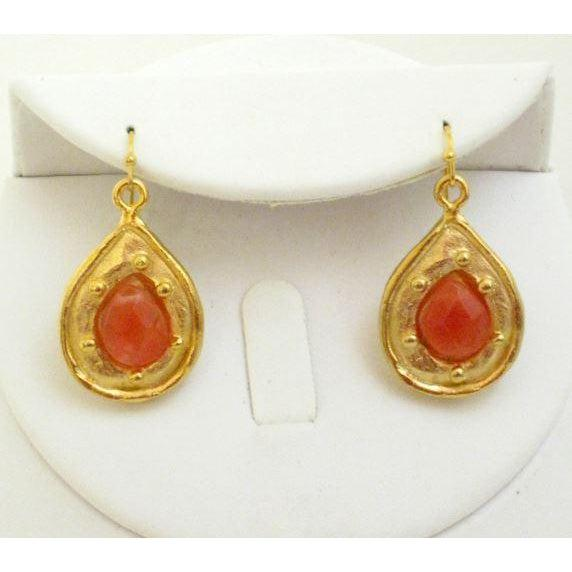Susan Shaw Handcast Gold Teardrop with Genuine Cherry Quartz Stone Earrings