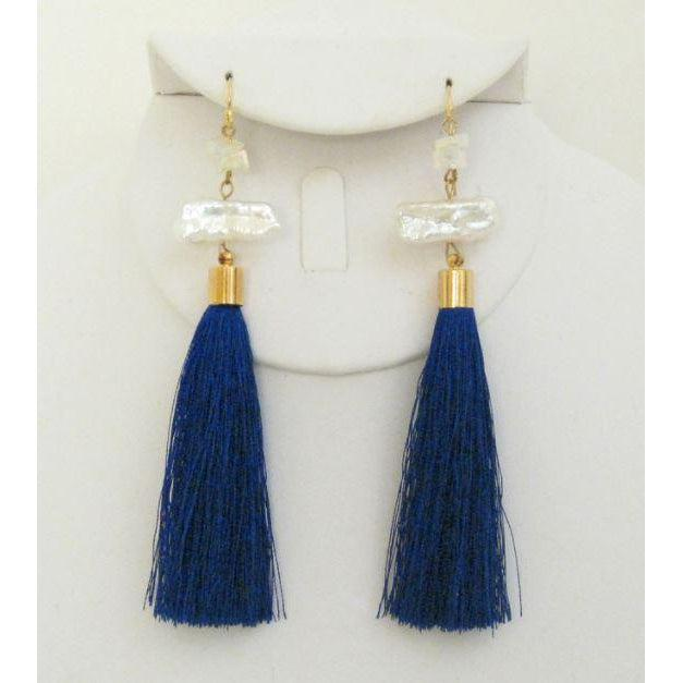 Susan Shaw Handcast Gold & Genuine Freshwater Stick Pearl, Navy Tassel Earrings-Susan Shaw Jewelry-Blue Hand Home