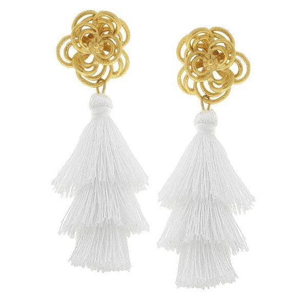 Susan Shaw Handcast Gold Flower with Triple Silk Tassel Drop Earrings-Susan Shaw Jewelry-Blue Hand Home