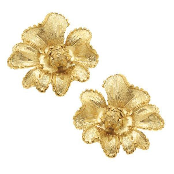 Susan Shaw Handcast Gold Stud Flower Earrings-Susan Shaw Jewelry-Blue Hand Home