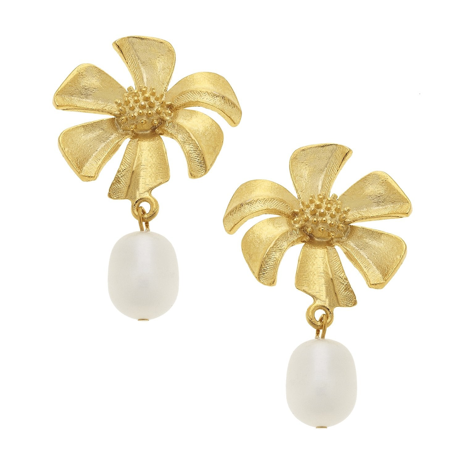 Susan Shaw Gold Flower & Pearl Earrings