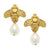 Susan Shaw Bee & Pearl Drop Earrings - Gold