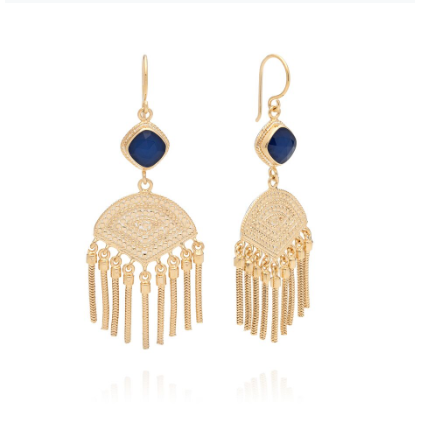 Anna Beck Sapphire Cushion Double Drop Fringe Earrings - Gold