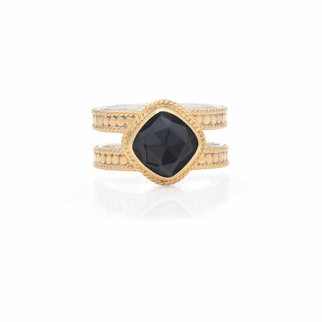 Anna Beck Hematite Cushion Double Band Ring - Gold