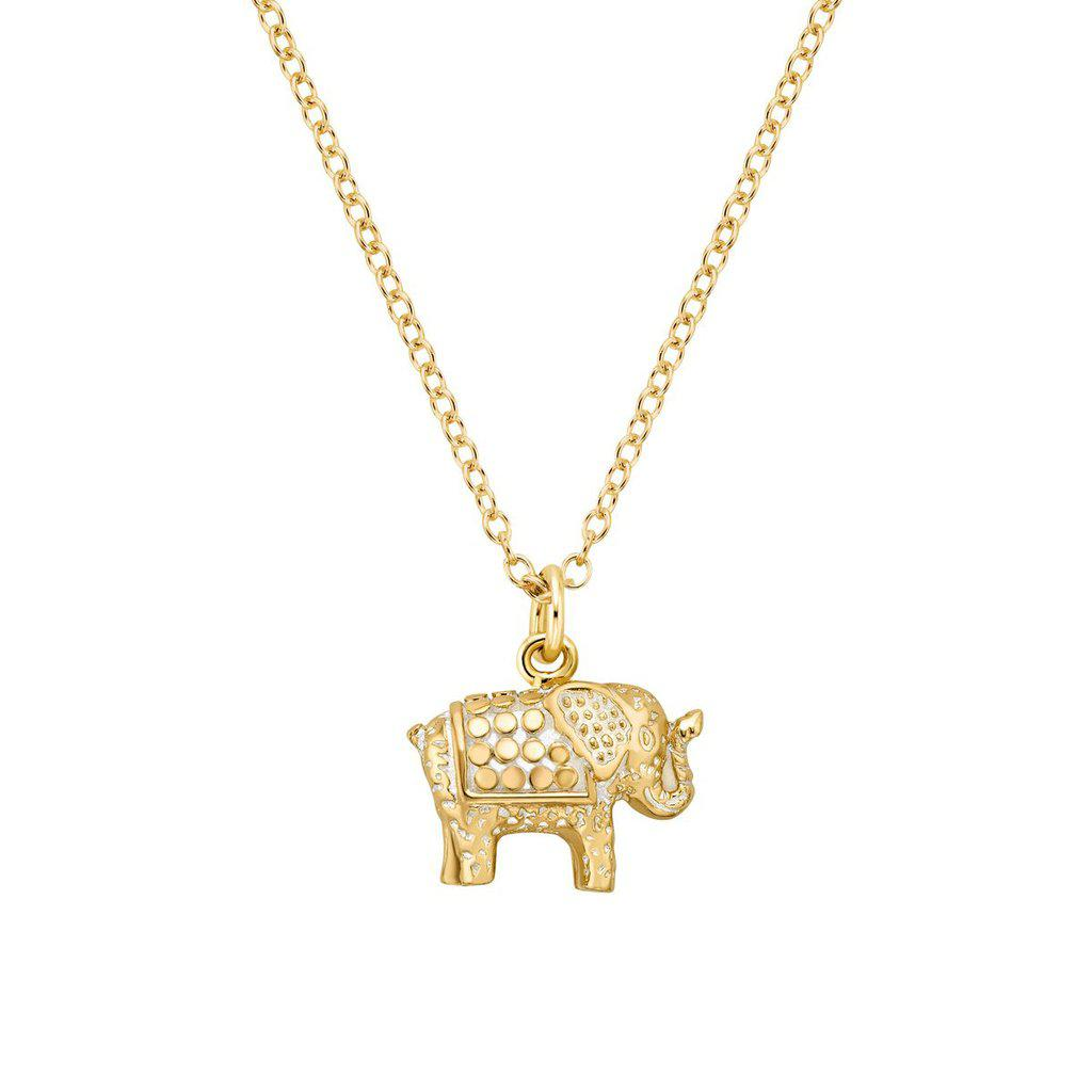 Anna Beck Small Elephant Necklace - Gold-Blue Hand Home