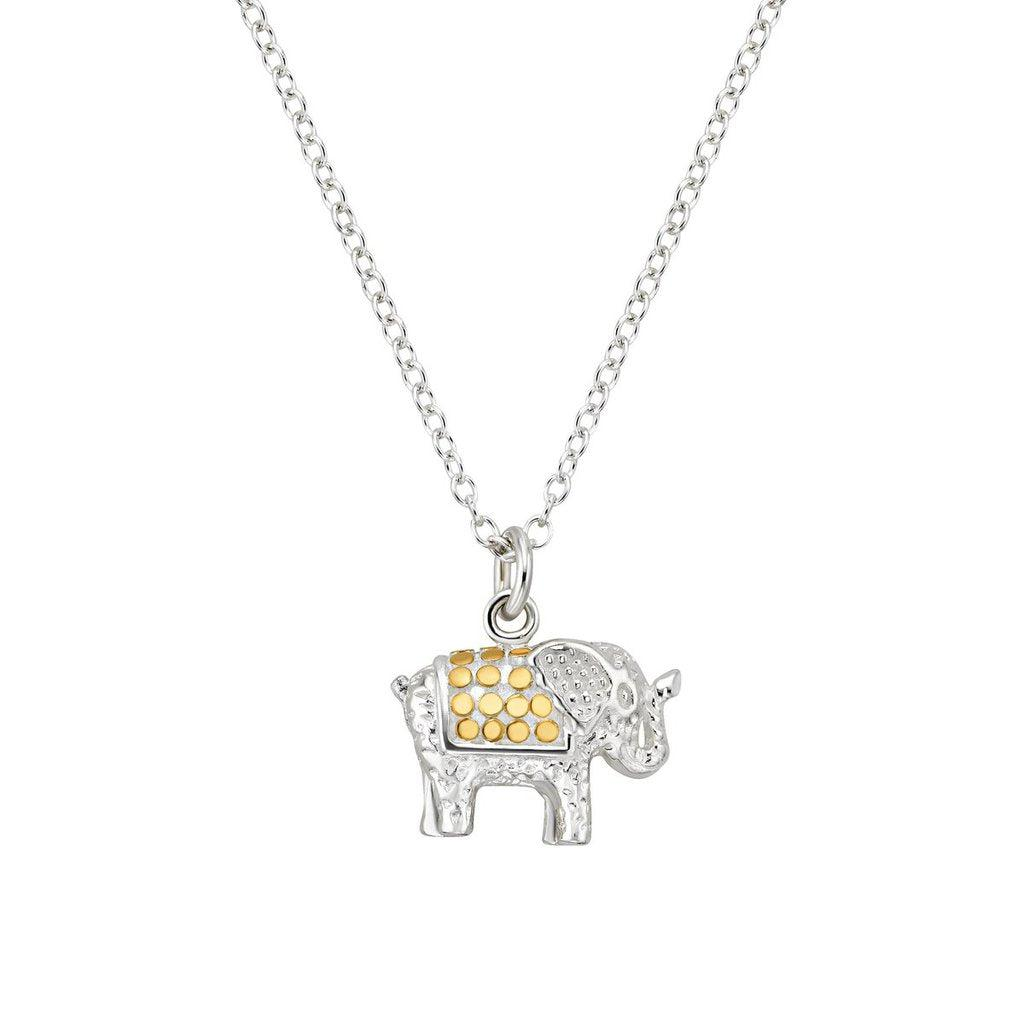 Anna Beck Small Elephant Charity Necklace - Gold and Silver