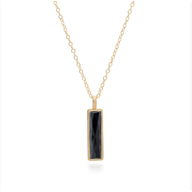 "Anna Beck Hematite Bar Pendant Necklace 30""- Gold"