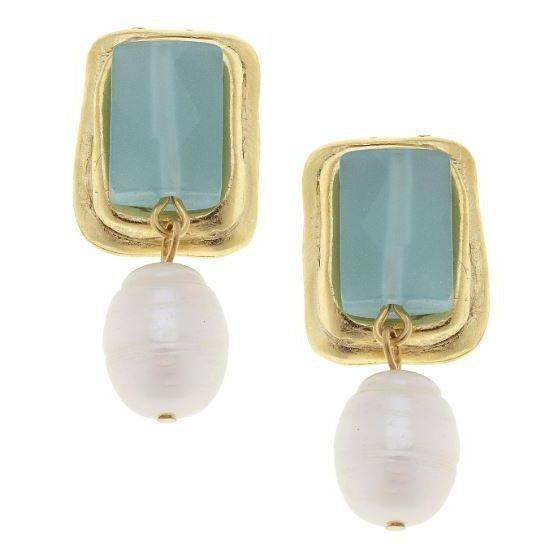 Susan Shaw Handcast Gold & Aqua Quartz with Genuine Freshwater Pearl CLIP Earrings-Susan Shaw Jewelry-Blue Hand Home