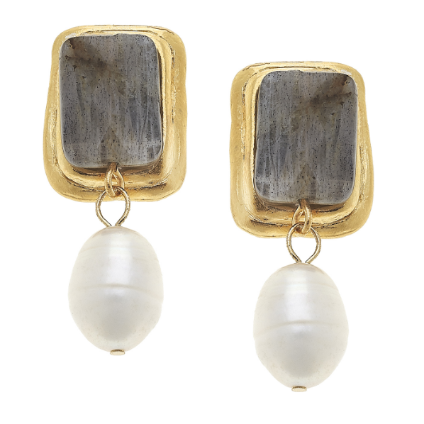 Susan Shaw Handcast Gold & Labradorite Rectangle w/ Genuine Freshwater Pearl Earrings