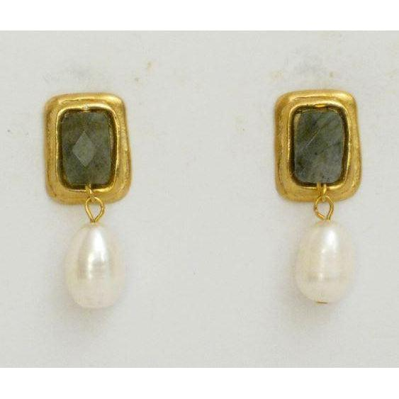 Susan Shaw Handcast Gold & Labradorite Rectangle with Genuine Freshwater Pearl CLIP Earrings-Susan Shaw Jewelry-Blue Hand Home