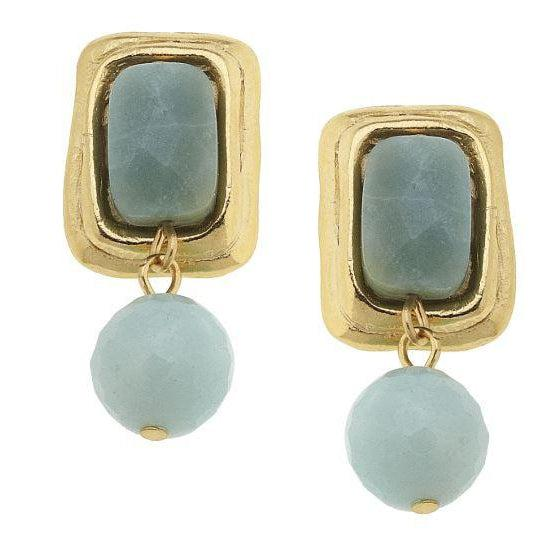 Susan Shaw Gold Cab w/ Amazonite Drop Clip Earrings-Susan Shaw Jewelry-Blue Hand Home