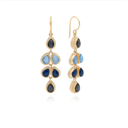 Anna Beck Hematite & Sapphire Multi Drop Earrings - Gold-Blue Hand Home