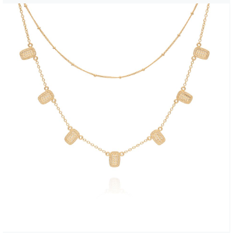 Anna Beck Multi Bar Charm & Satellite Chain Double Necklace - Gold-Anna Beck Jewelry-Blue Hand Home