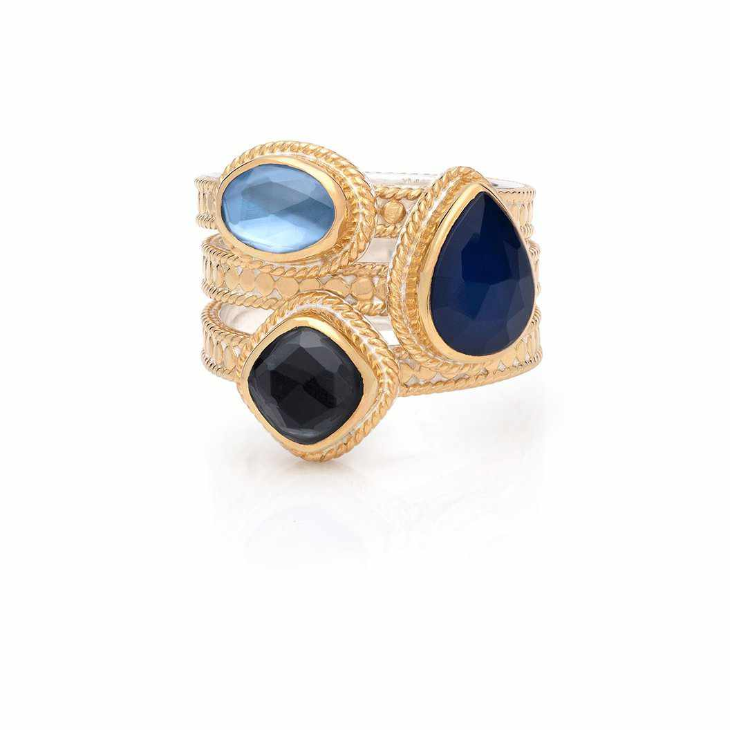 Anna Beck Hematite & Sapphire Faux Stackable Ring - Gold