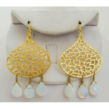 Susan Shaw Gold Pear Cutout Clear Qtz Earring-Susan Shaw Jewelry-Blue Hand Home