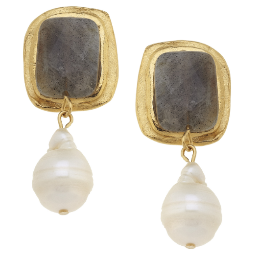 Susan Shaw Handcast Gold Rectangle with Labradorite & Baroque Pearl CLIP Earrings