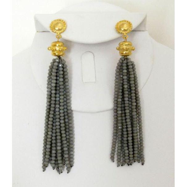 Susan Shaw Handcast Gold Cab & Grey Crystal Tassel Earrings-Susan Shaw Jewelry-Blue Hand Home