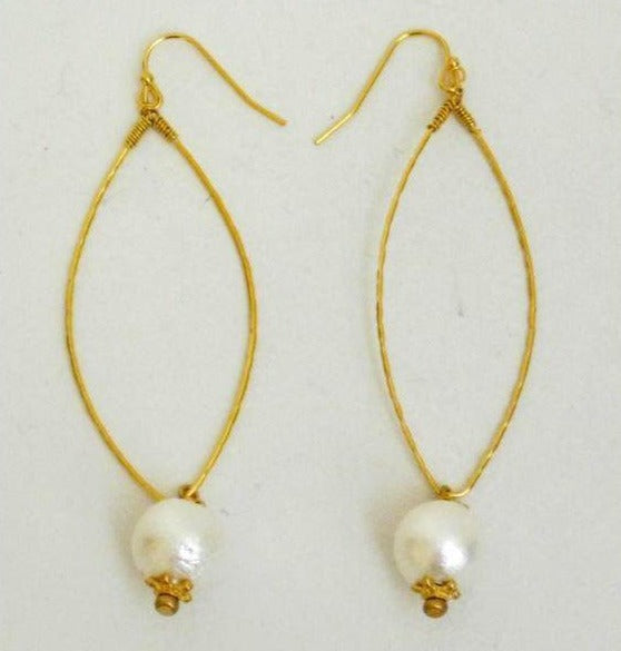 Susan Shaw Gold Handmade Wire-Wrapped Earrings with Cotton Pearl