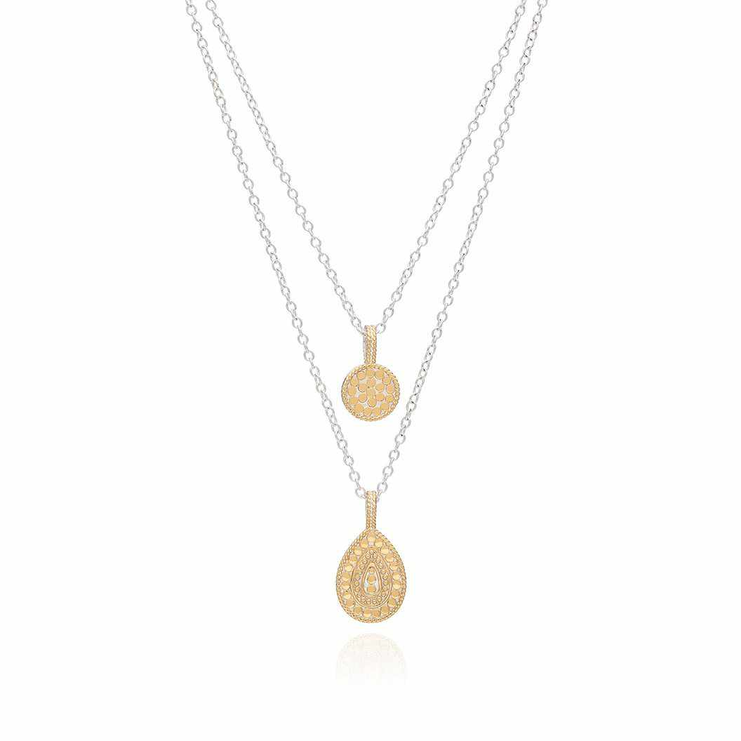 Anna Beck Reversible Circle & Teardrop Double Necklace, 16-18""