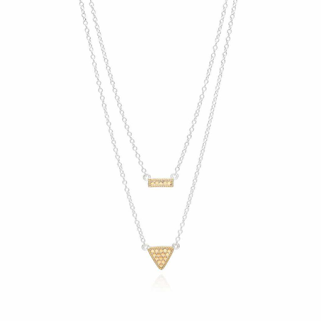 "Anna Beck Reversible Petite Bar and Triangle	Double Necklace, 16-18""-Blue Hand Home"