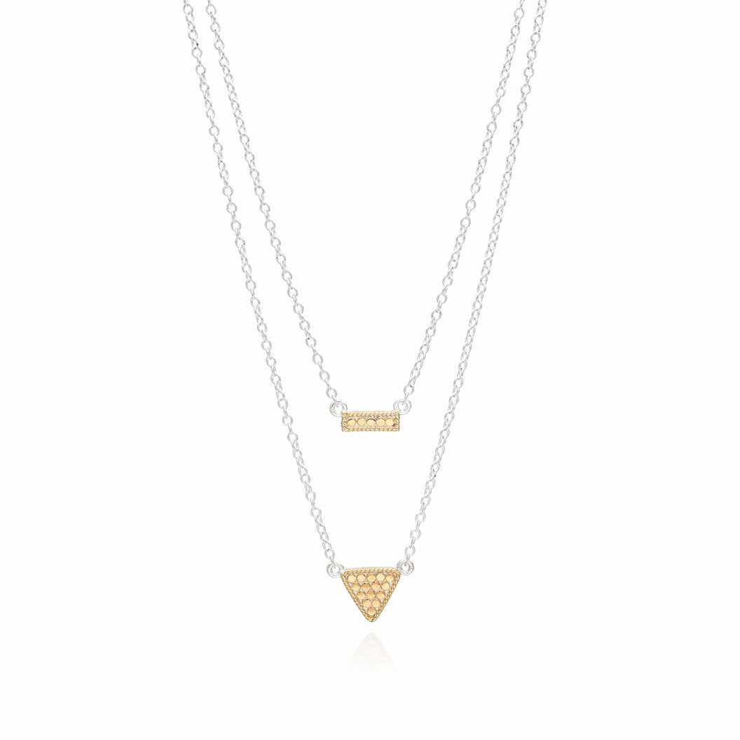 Anna Beck Reversible Petite Bar and Triangle	Double Necklace, 16-18""