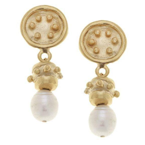 Susan Shaw Handcast Gold & Pearl Earrings-Susan Shaw Jewelry-Blue Hand Home