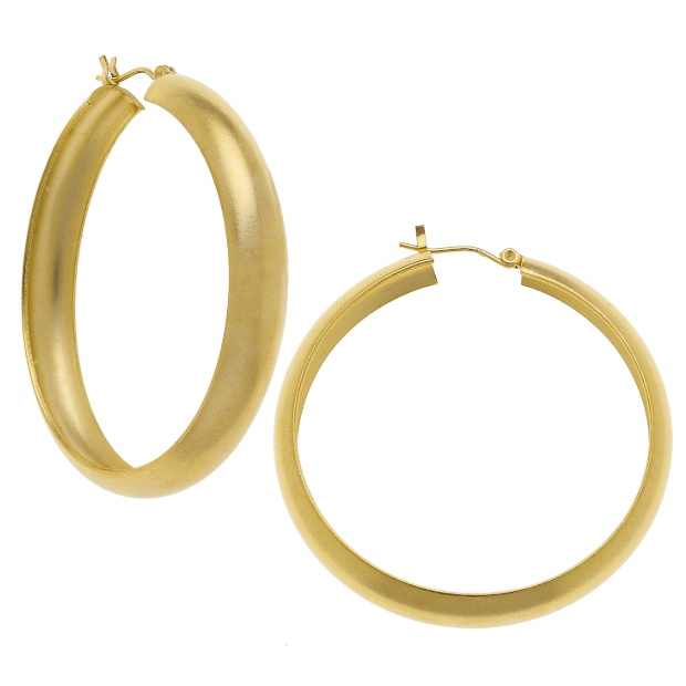 Susan Shaw Handcast Gold Large Hoop Earrings-Susan Shaw Jewelry-Blue Hand Home
