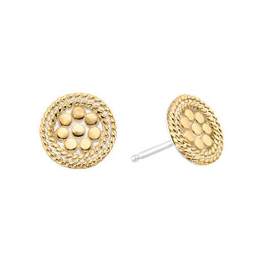 Anna Beck Gold Mini Disk Stud Earrings-Blue Hand Home