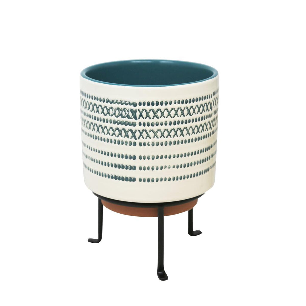 Ceramic Planter on Stand - Blue Stripe