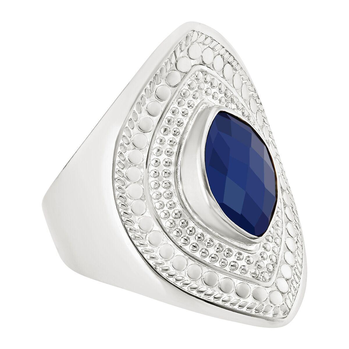 Anna Beck Lapis Marquise Shield Ring - Silver