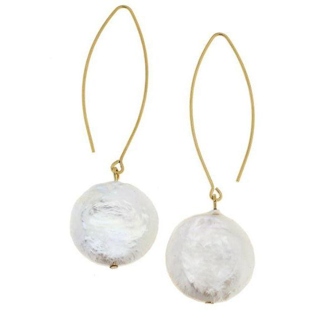 Susan Shaw Handcast Gold Threader & Round Genuine Freshwater Pearl Earrings-Susan Shaw Jewelry-Blue Hand Home