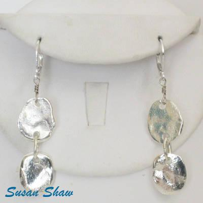 Susan Shaw Sterling Silver Plated Handcast Earrings-Susan Shaw Jewelry-Blue Hand Home