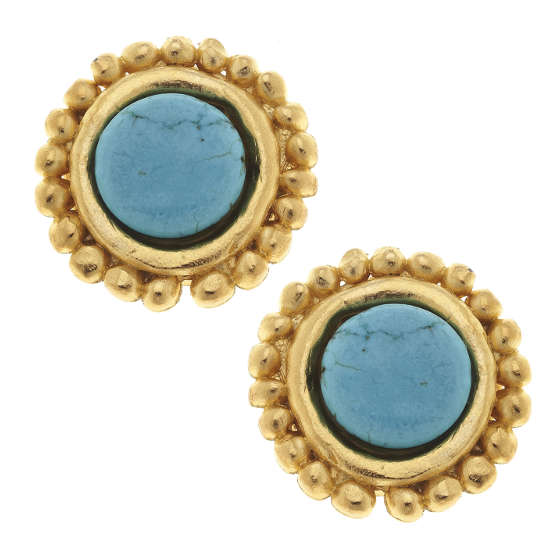 Susan Shaw Handcast Gold & Genuine Turquoise Clip Earrings