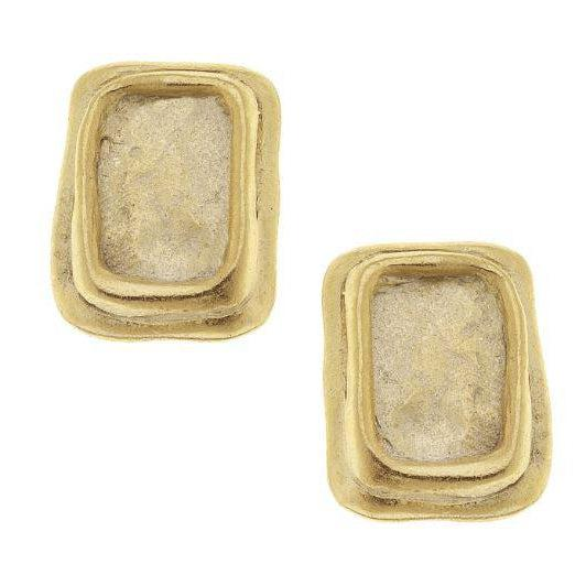 Susan Shaw Handcast Gold Pierced Earrings - Square-Susan Shaw Jewelry-Blue Hand Home