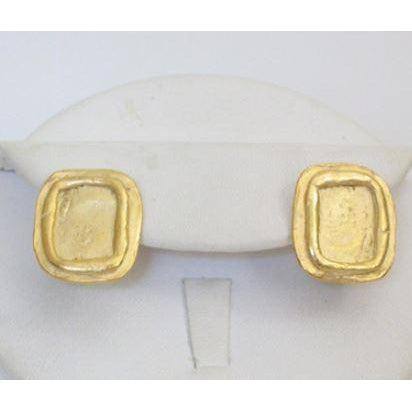 Susan Shaw Handcast Gold Clip Earrings - Square
