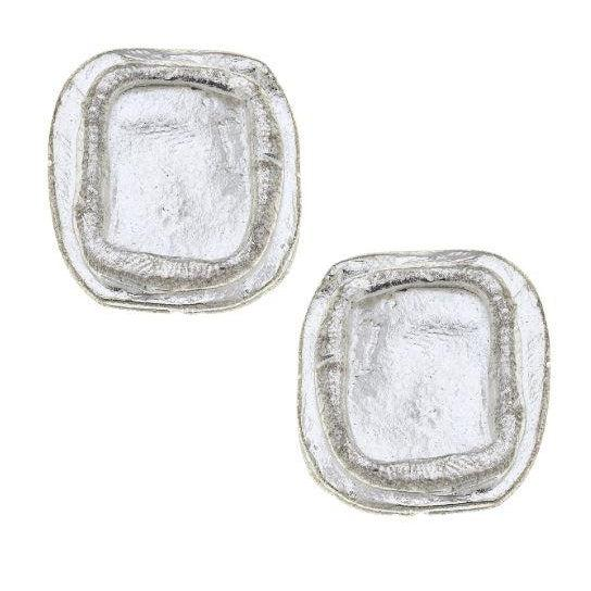 Susan Shaw Handcast Silver Pierced Earrings - Square