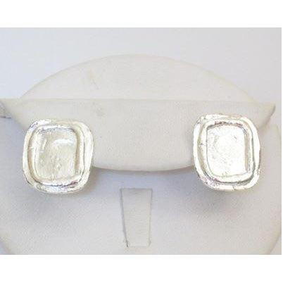 Susan Shaw Handcast Silver Clip Earrings - Square-Susan Shaw Jewelry-Blue Hand Home