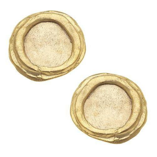 Susan Shaw Handcast Gold Pierced Earrings - Round