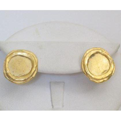 Susan Shaw Handcast Gold Clip Earrings - Round